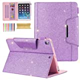 Cover iPad 2018 9.7 Inch, iPad Pro 9.7 Case, Cookk PU Leather Glitter Cover with Auto Sleep/Wake [Card/Money Slot] Stand Fashion Case for Apple iPad 9.7 Inch 2018 2017/Air/Air 2/Pro 9.7, Purple (Color: #02 Purple, Tamaño: 9.7 Inch)