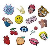 RipDesigns - Large Assorted Set of 15 Aesthetic, Hipster and Cool Feminist Iron On Patches for Jackets Backpacks Jeans and Clothes | Each Embroidered Patch is Durable and Sticks To All Fabrics (Set 1) (Color: Set 1)