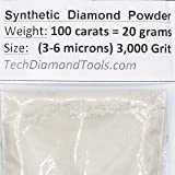 TechDiamondTools Diamond Powder 3.000 Grit 3-6 Microns -100cts,= 20 Grams (Color: 100 carats-20 grams, Tamaño: 3,000 grit / 3-6 microns)