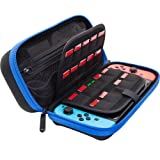 [Large Model] ButterFox Hard Case Stand for Nintendo Switch,Fits Wall Charger,Built-in Stand, 18 Game and 2 Micro SD Card Holders, Large Pouch for Nintendo Switch Console and Accessories (Blue/Black) (Color: Blue/Black)