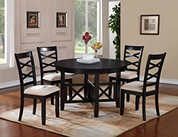 Standard Furniture Epiphny 5 Piece Round Dining Room Set In Dark Java Brown