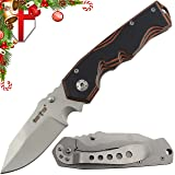 Folding Pocket Knife for Men – Compact Tactical EDC Utility Knife with G-10 Handle and Clip – Perfect Knife for Work Urban Camping Hiking and Survival 01137 (Color: Brown, Tamaño: Medium)
