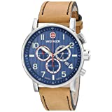 Wenger Men's 01.1243.101 Commando Stainless Steel Watch with Brown Leather Band (Color: Blue)