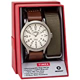 Timex Men's TWG016100 Expedition Scout 43 Brown Leather Slip-Thru Strap Watch Gift Set + Olive Nylon Strap