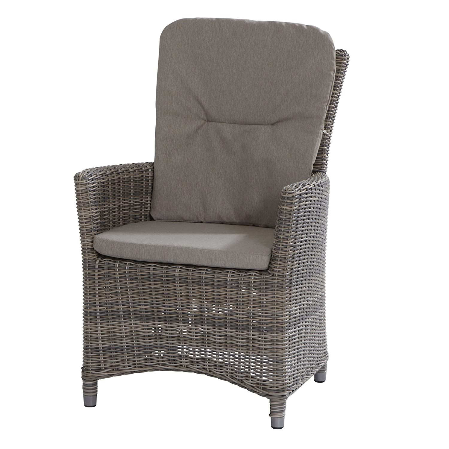 Aqua-Saar Dining Sessel Athen Polyrattan Roca light grey inkl. 2 Kissen AS37798