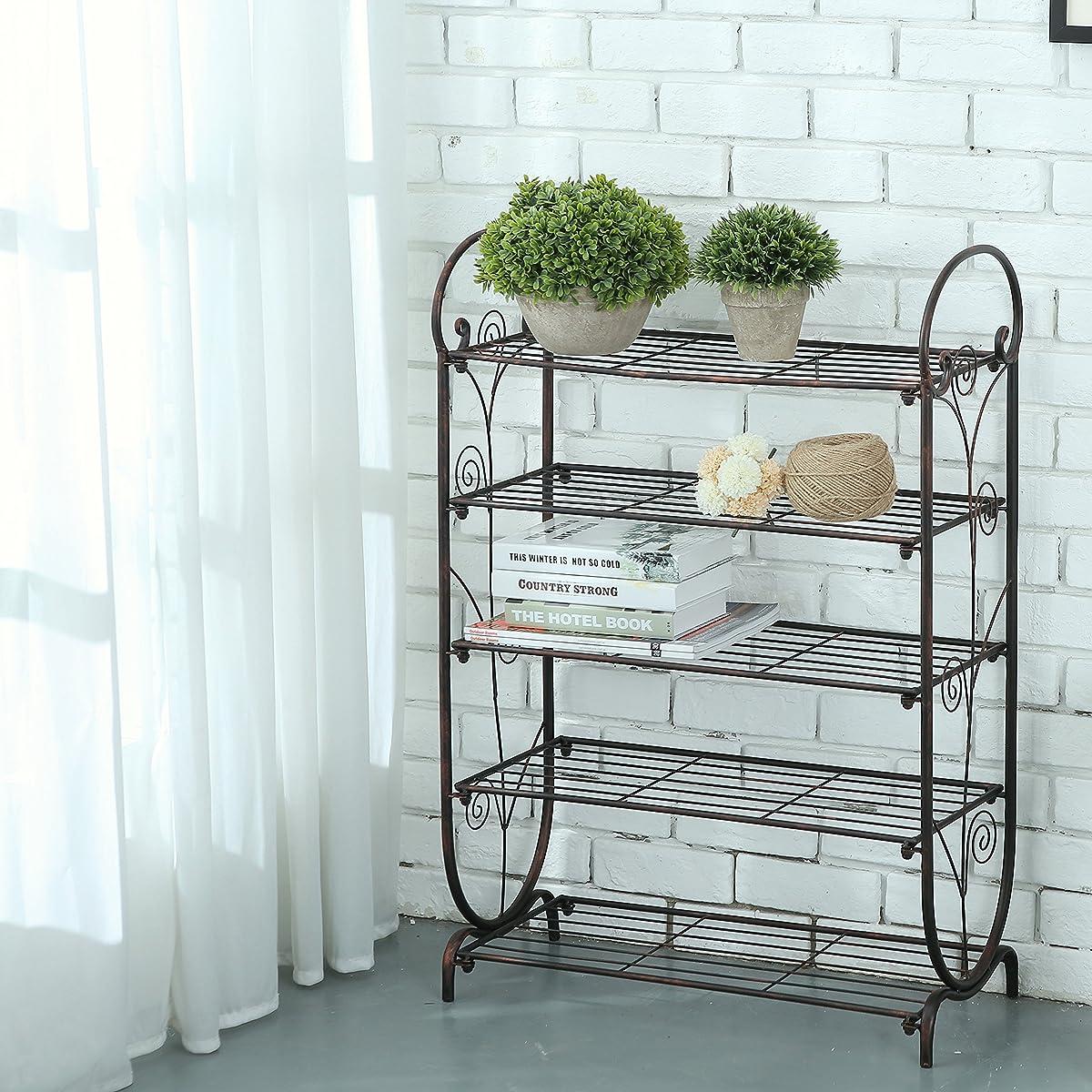 5-Tier Bronze Swirl Design Freestanding Metal Shoe Rack Storage and Organizer Shelf