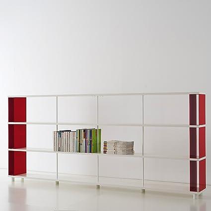 Estantería Modular SKAFFA estantes blanco Made in Italy Cm.300 x 130 x 30