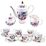 Premium 18 Piece Porcelain Tea Set - Pitcher and Lid, 6 Cups and Saucers, Creamer Pitcher, Covered Sugar Bowl and Spoon - Lavender, Pink, Blue and Yellow Peony Floral Pattern with Gold Trim, Serves 6 (Color: Lavender, Pink, Blue and Yellow Floral)