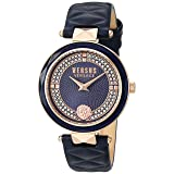 Versus by Versace Women's 'COVENT GARDEN CRYSTAL' Quartz Stainless Steel and Leather Casual Watch, Color:Blue (Model: VSPCD2817) (Color: Blue)