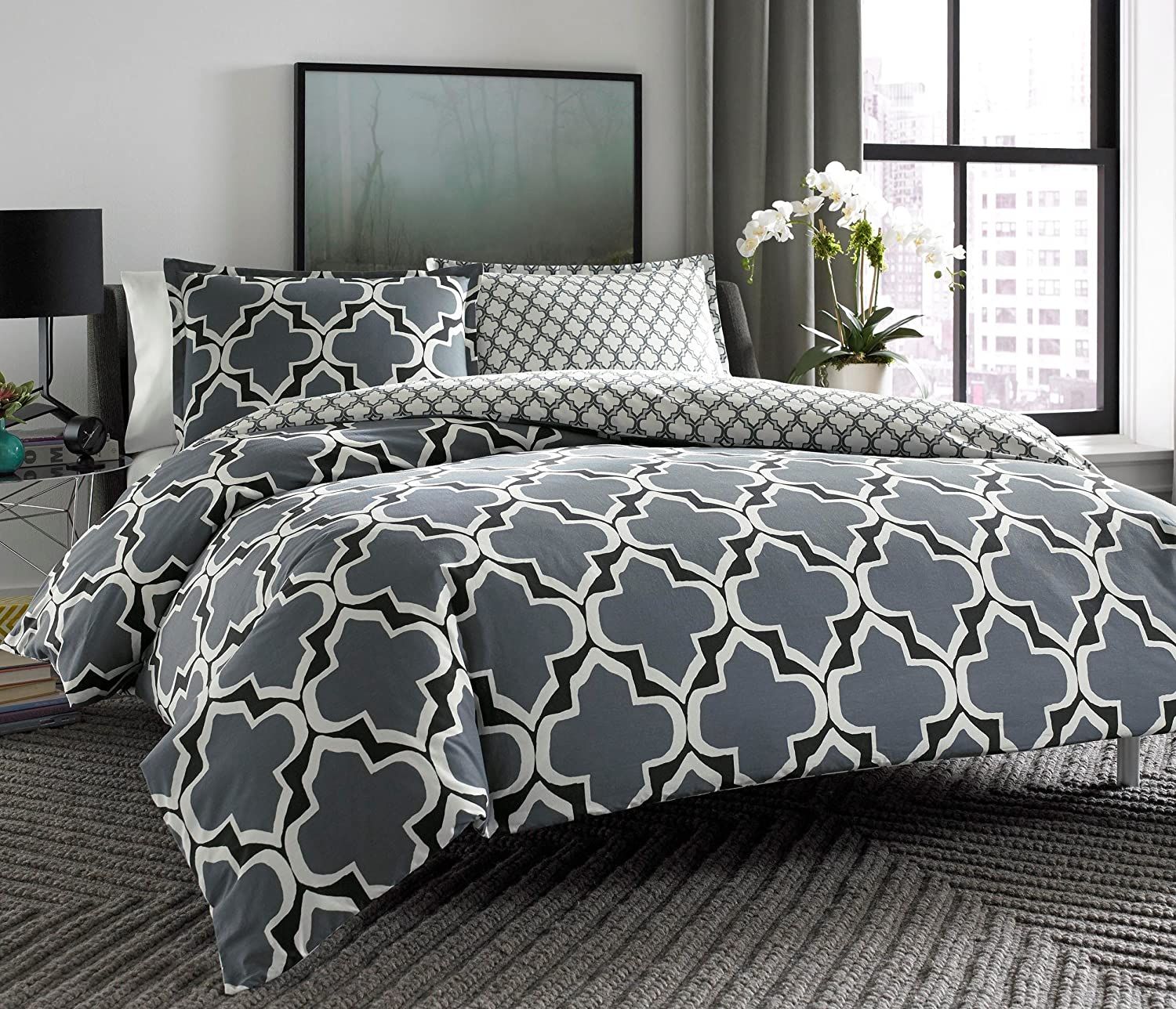 city scene bedding sets  ease bedding with style - city scene brodie reversible comforter set king