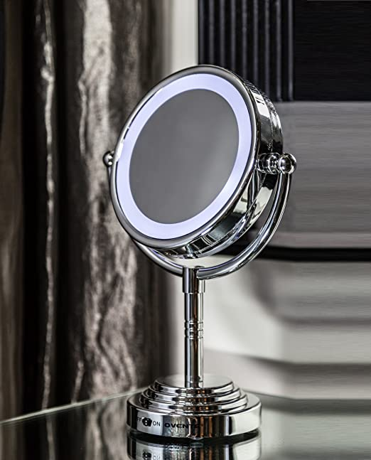 ovente mlt28c led battery operated tabletop vanity mirror 1x 5x magnificatio. Black Bedroom Furniture Sets. Home Design Ideas