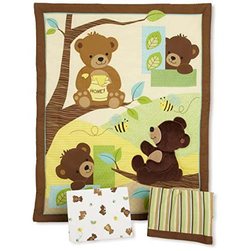 Bedtime Originals Honey Bear 3 Piece Crib Bedding Set Brown Green