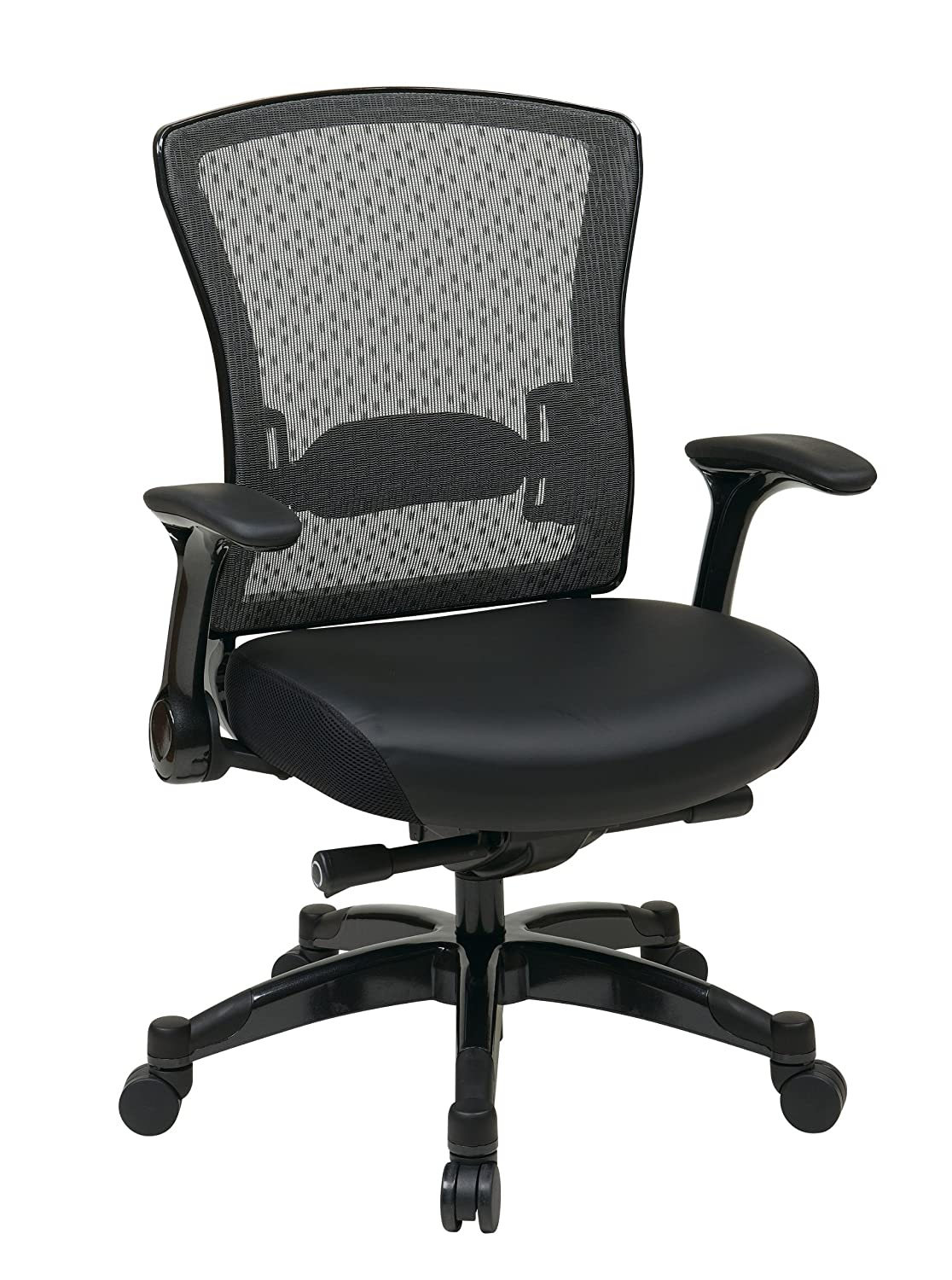 Fabulous SPACE Seating Professional R SpaceGrid Back Chair with Padded Memory Foam Eco Leather Seat Gunmetal Finish Adjustable Managers Chair