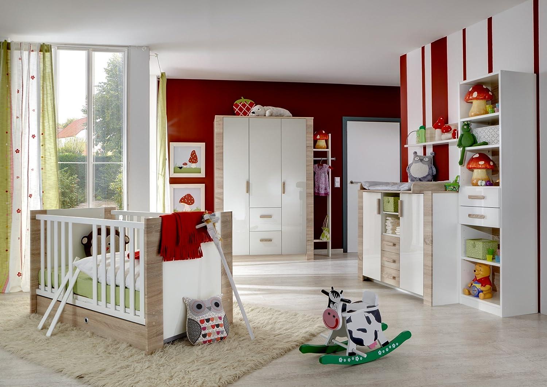 Babyzimmer mit Bett 70 x 140 cm Pearlglanz Softwhite/ Eiche sägerau