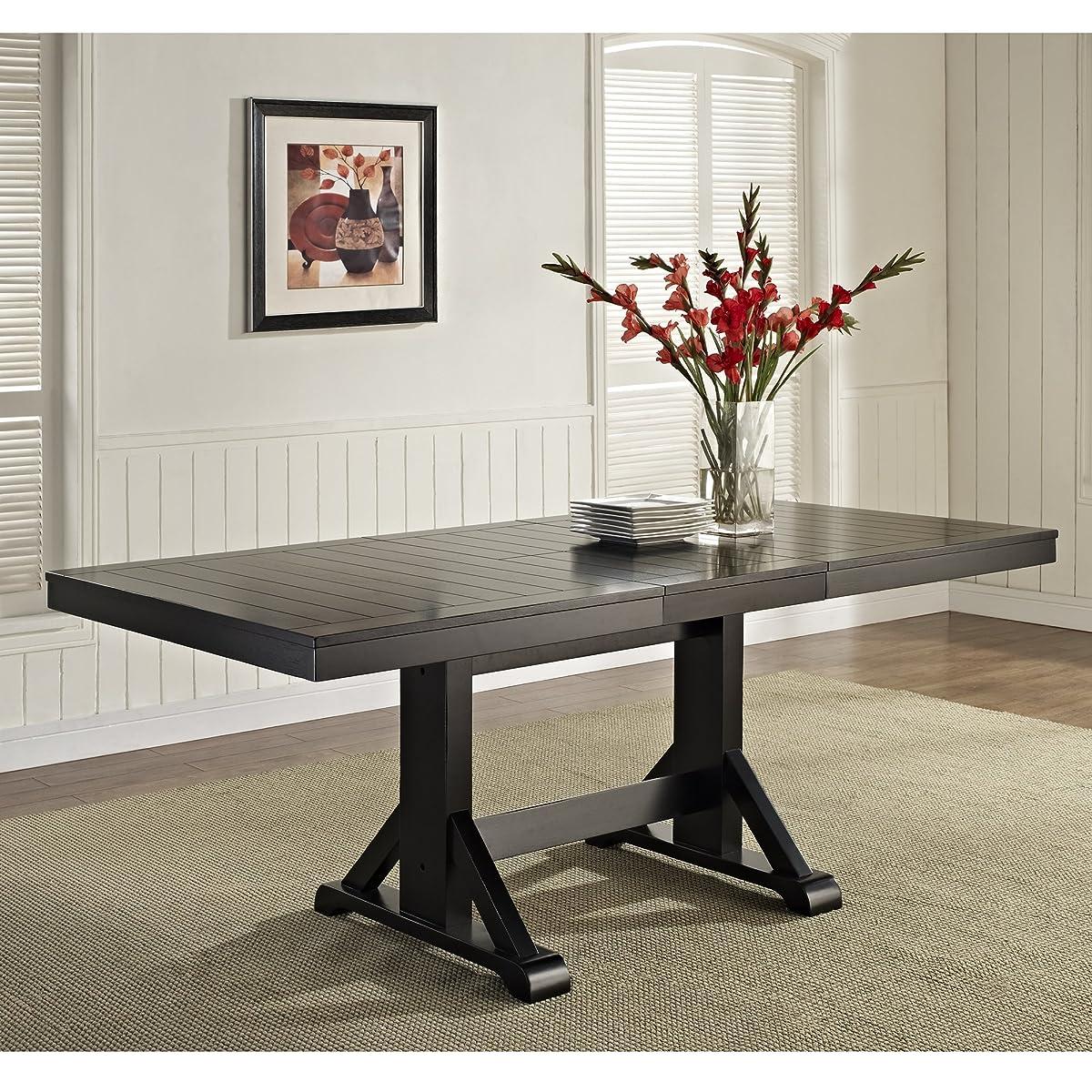 WE Furniture 6-Piece Black Solid Wood Dining Set