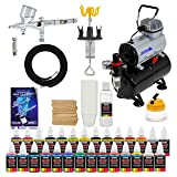 Complete Professional Airbrush System Kit with G44 Master Airbrush, Master Compressor TC-20T, 24 Color US Art Supply Paint Set with Reducer & Airbrush Cleaner, Accessories (Color: Assorted)