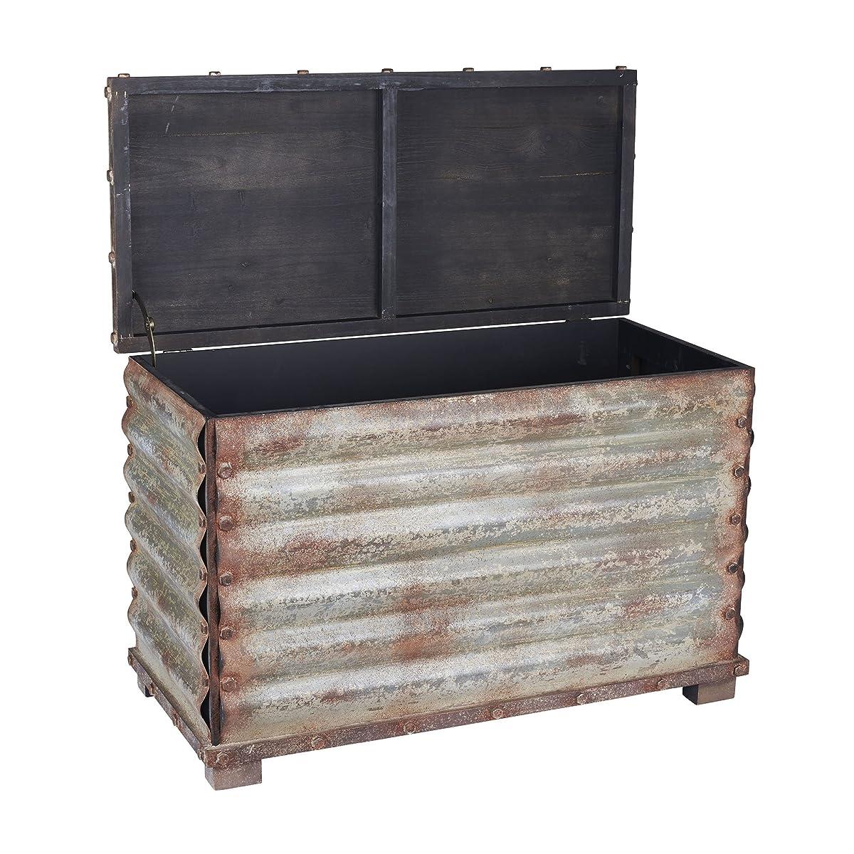 Household Essentials Vintage Metal Storage Trunk, Rustic Silver, Large