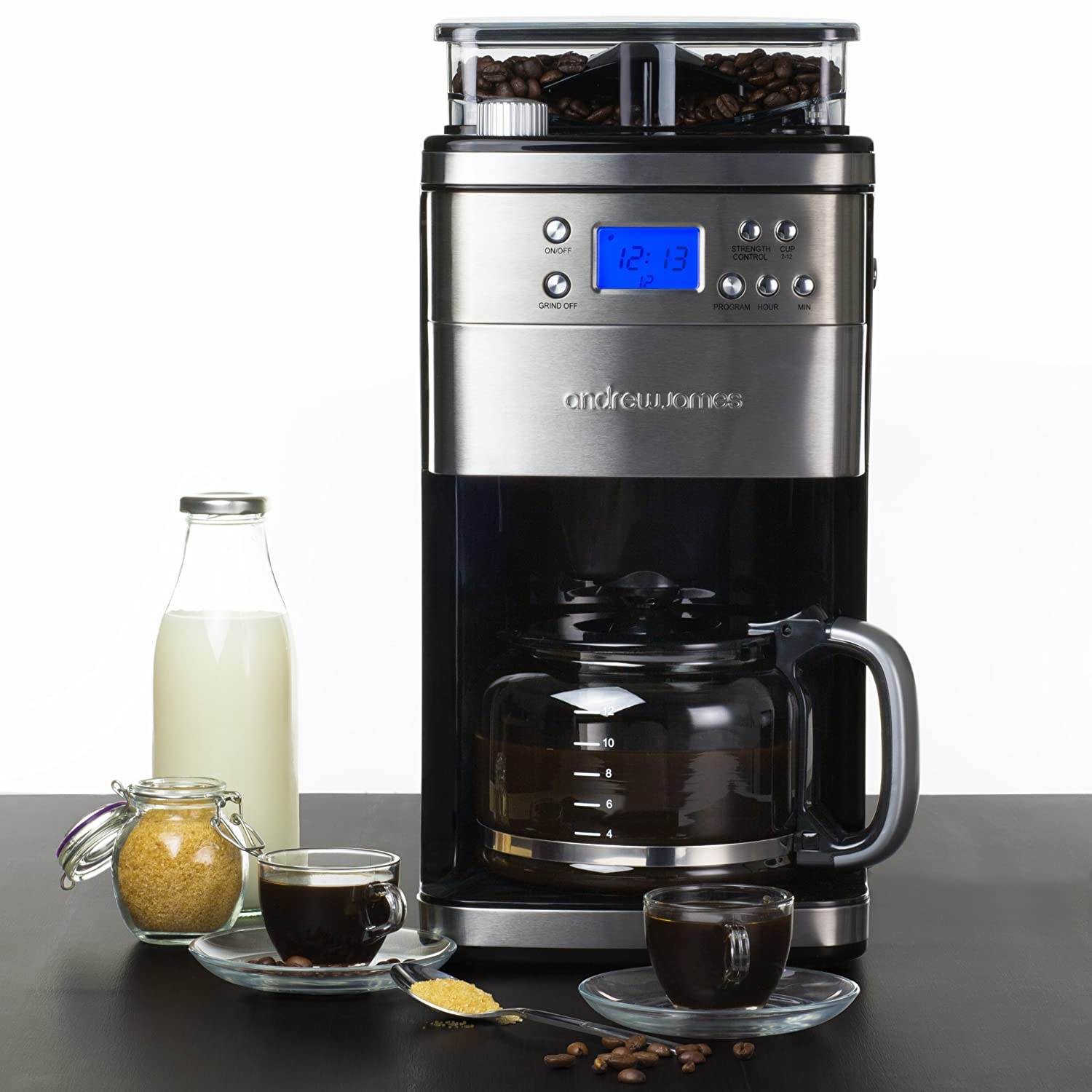 This Andrew James coffee maker features an integrated coffee grinder.