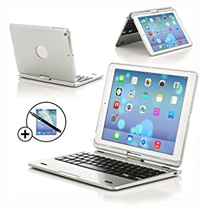 ForeFront Cases® New Apple iPad Air Wireless Bluetooth Silver Keyboard Case   Full QWERTY layout, 360 Degree Rotating and Built In Rechargeable Battery + SCREEN PROTECTOR & STYLUSCustomer reviews and more information