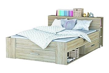Demeyere 159571 Bett Pocket 150 x 74.5 x 227.5 cm, Somona Eiche mit Struktur