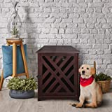 Casual Home Modern Lattice Wooden Pet Crate End Table - Espresso (Color: Espresso, Tamaño: 23.5