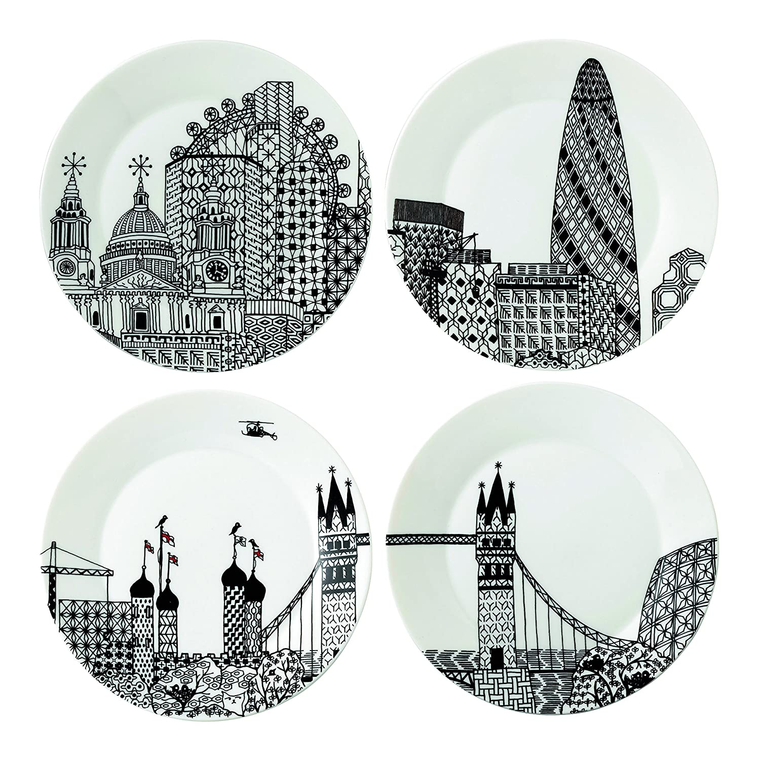 Royal Doulton Charlene Mullen Plates, 8.6-Inch, London City Scape, Set of 4