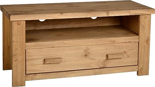 Home Essentials Tortilla 1 cassetto per TV a schermo piatto, unità in legno di pino invecchiato e cerato