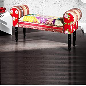 DESIGN PATCHWORK SEATING BENCH IBIZA cushioned multicoloured 100x55cm       Customer reviews and more information