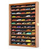 sfDisplay.com, Factory Direct Display Cases Hot Wheels Matchbox 1/64 Scale Diecast Model Display Case Cabinet Wall Rack w/98% UV Protection -Walnut (Color: Walnut)
