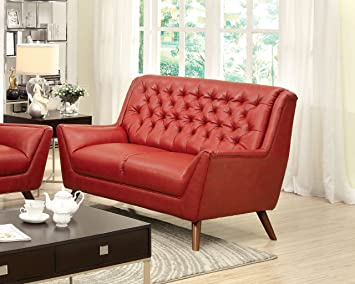 Furniture of America Aster Retro Love Seat, Red