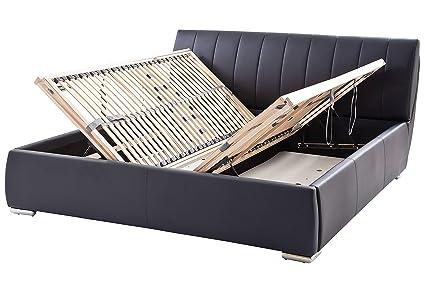 sette notti  Polsterbett Bett 200x200 Schwarz, Kunstleder-Bett mit Liegefläche 200x200 cm, Bern Art Nr. 665-99-60000