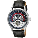 Lucien Piccard Men's 'Transway' Automatic Stainless Steel and Black Leather Casual Watch (Model: LP-15038-01) (Color: black)