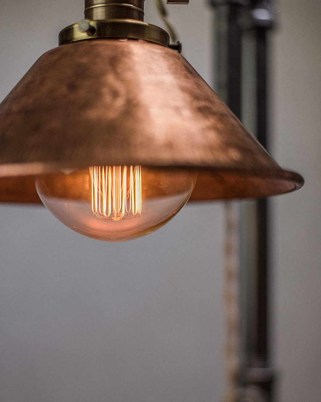 Industrial Style Table Lamp - Pendant Edison Bulb - Copper Shade 1