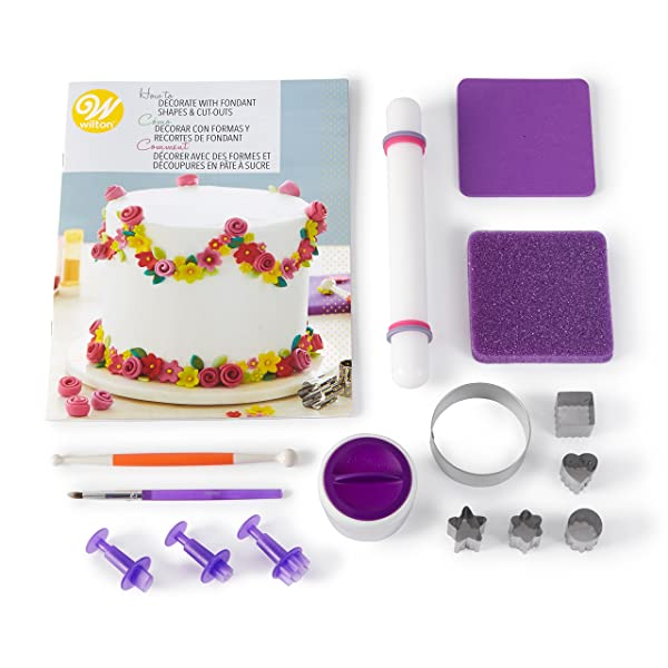 Wilton How to Decorate with Fondant Shapes and Cut-Outs Kit - 14-Piece Cake Decorating Kit with 3 Fondant Cutouts, Fondant Shaping Set, Roller, Dusting Pouch, 6 Cutters, Video Tutorial (Color: White)