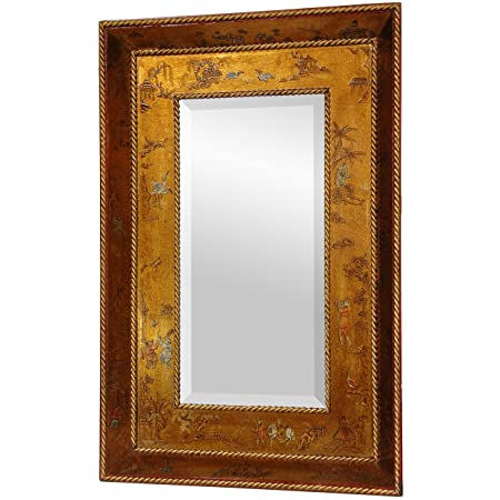 Oriental Furniture Chinese Furnishings and Accents, 33-Inch Ming Lacquered Gold Leaf Wall Mirror