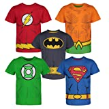 Warner Bros. Boys 5 Pack T-Shirts Batman Superman Flash Aquaman Green Lantern 4T (Color: Multicolor, Tamaño: 4T)