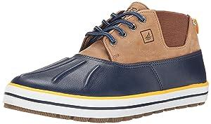 Sperry Top-Sider Men's Fowl Weather Chukka Rain Shoe, Navy/Dark Tan, 8 M US