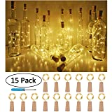 Wine Bottle Cork Lights, Battery Operated LED Cork Shape Silver Copper Wire Colorful Fairy Mini String Lights for DIY Party Halloween Wedding,Outdoor Indoor Decoration,15Pack (Warm White) (Color: Warm White, Tamaño: Small)