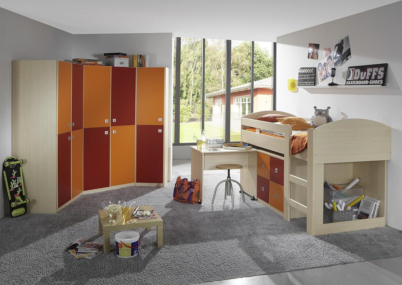 Hochbett 90 x 200 cm Ahorn/ orange-rot günstig