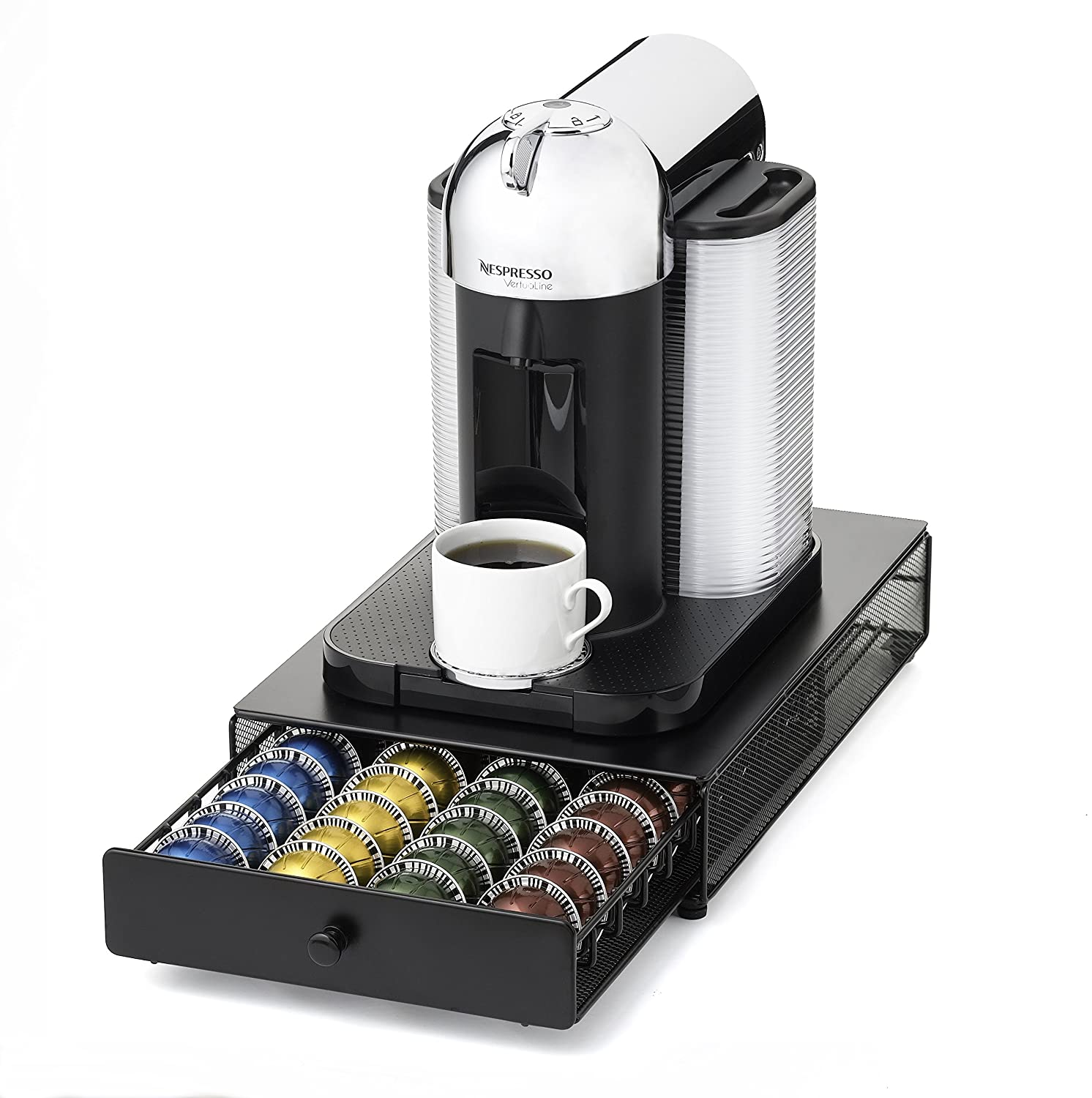 nifty 6145 nespresso vertuoline capsule drawer for coffee machines black new ebay. Black Bedroom Furniture Sets. Home Design Ideas