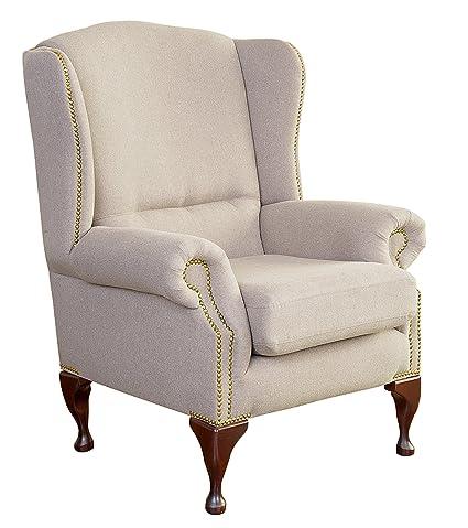 Max Winzer 2586-1100-1644402 Hochlehnsessel Dalton, Chesterfield-Design, Filzoptik beige