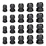 Cable Gland - Plastic Waterproof Cable Connector Adjustable 0.12 to 0.55 inch Cable, PG7, PG9, PG11, PG13.5, PG16, Pack of 20 by MoArmor (Color: black)