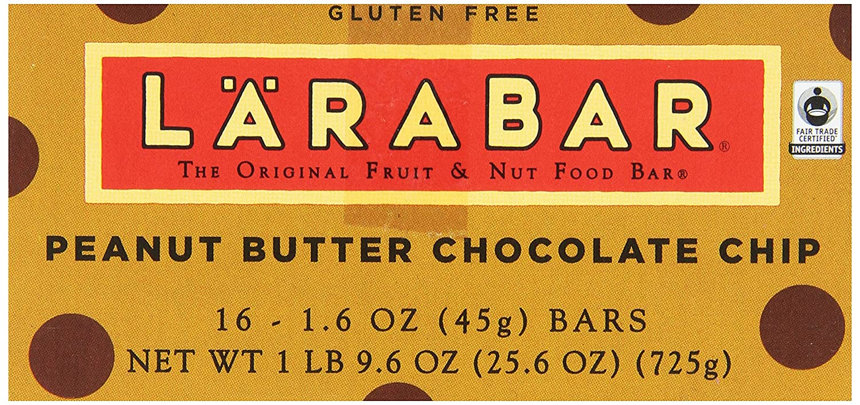 Larabar Gluten Free Fruit & Nut Food Bar, Peanut Butter Chocolate Chip, 16 - 1.6 Ounce Bars