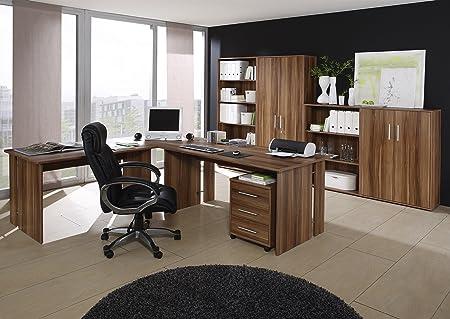 Buromöbel Set - Komplettes Arbeitszimmer Omega, Walnuß Dekor, 8-teilig