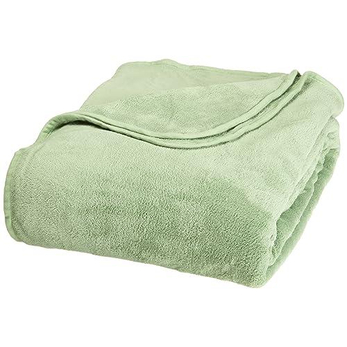 All Seasons Collection Micro Fleece Plush Solid F/Q Blanket, Sage