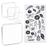 Sntieecr 4 Pieces Assorted Sizes Acrylic Stamp Blocks Clear Stamping Blocks with Grid Lines and 1 Sheet Clear Silicone Seal Stamps for DIY Scrapbooking Album Card Making