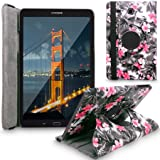 Galaxy Tab E 9.6 Case, Cellularvilla Premium Pu Leather 360 Degree Rotating Cover Swivel Stand Case For Samsung Galaxy Tab E Wi-Fi / Tab E Nook / Tab E Verizon 9.6-Inch Tablet (Black Pink Flower) (Color: Black Pink Flower, Tamaño: 9 x 6 x 1.2 inches)