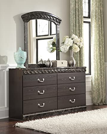 Traditional Style Vachel Dark Brown Finish Bedroom Dresser With Faux Marble Top