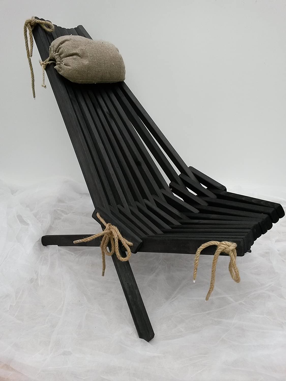 Klappbarer Gartenstuhl Kiefer Farbe: Schwarz kaufen