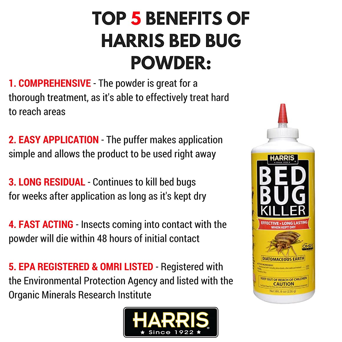 Harris Bed Bug Killer, Diatomaceous Earth Powder 1/2 LB, Fast Kill with Extended Residual Protection